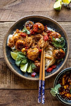 30 Minute Sticky Thai Meatballs with Sesame Noodles.perfect for busy weeknights when you're looking for something exciting, but easy Asian Recipes, Healthy Recipes, Ethnic Recipes, Thai Food Recipes, Healthy Breakfasts, Sesame Noodles, Thai Noodles, Thai Street Food, Half Baked Harvest