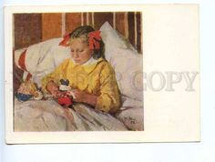 227668 UKRAINE Yablonska a cold girl w / DOLL old postcard