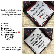 "Ink Printed FATHER OF the GROOM Patch - Choose Message & Font - 2.5"" x 2.5"" or 2"" x 2"" -  Sew on or Iron On, Wedding Tie Patch by VictoriaLynnBoutique on Etsy"