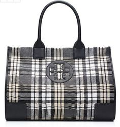 Ella Plaid Tote A perennial favorite — updated in a classic woven tartan pattern. Our Ella Plaid Tote features smooth, solid-colored handles and trim, with a roomy interior that can easily accommodate all of your essentials. Whether you're running around town or packing for a weekend getaway, it's an ideal grab-and-go carryall for any time of the year.
