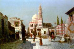Egypt , Old Cairo Paintings: August von Siegen (German, b. 1850) - Entrance to Complex of Sultan Qaytbay Cairo