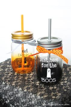Whether you partake in an alcoholic beverage or not, these are the cutest Halloween Mason Jar Drink Glasses!