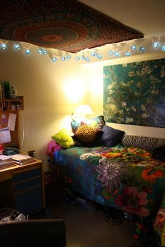 what if we put a big piece of fabric/tapestry on the ceiling and christmas lights over it?! oh the possibilities