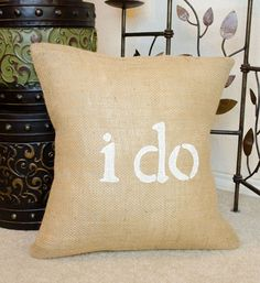 I DO Burlap Wedding Engagement Pillow Cover Slip  by sherisewsweet, $28.00