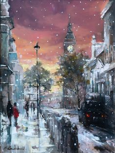 Snowfalls In Westminster by Eva Czarniecka #art #painting