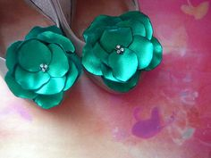 Bridal Shoe Clips emerald green Satin Flowers with Rhinestone Center Handmade Green wedding on Etsy, $14.00