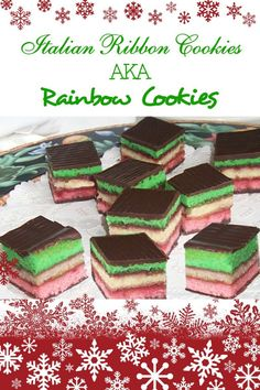 This recipe for irresistible Italian ribbon cookies, also known as Venetians, rainbow cookies or Neapolitan slices, uses tinted almond cake layers joined with raspberry jam and topped with chocolate.