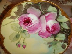 BEAUTIFUL Haviland Limoges Plate with Hand Painted Roses - - Artist from onlyfinelines on Ruby Lane