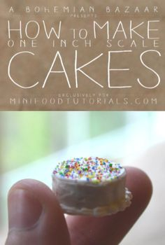 Learn how to make a cute, modern miniature dollhouse cake from polymer clay with this mini food tutorial! Made for Mini Food Tutorials by A Bohemian Bazaar.