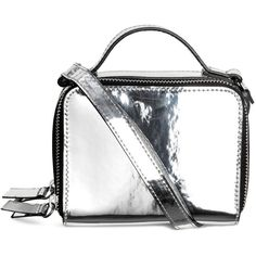Mini shoulder bag 129 ❤ liked on Polyvore featuring bags, handbags, shoulder bags, white handbag, white purse, mini handbags, shoulder handbags and metallic shoulder bag