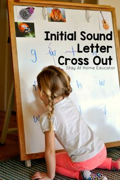 Initial Sound Letter Cross Out Activity - A preschool activity that teaches and reinforces letter identification and basic phonics all while encouraging mature pencil grasp.and without a pencil and paper! Writing Activities For Preschoolers, Preschool Writing, Preschool Letters, Phonics Activities, Preschool Printables, Alphabet Activities, Preschool Activities, Teaching Ideas, Handwriting Activities
