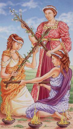 3 de bâtons - Tarot déesse universelle par Antonella Platano & Maria Caratti
