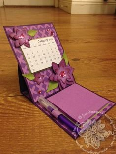 Easel Calendar Card and Post It Note Holder - Char's Journey