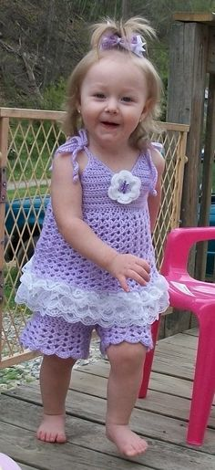 Little Girl's Crochet Lacey Summer Outfit by TJsCrochetCreations