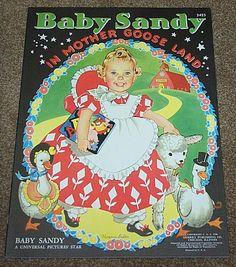 1940 Baby Sandy In Mother Goose Land Children's Book Merrill