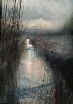 Paul Fowler Dusk Among the Reeds RWS Contemporary Watercolour Competition 2016 Royal Watercolour Society Abstract Landscape Painting, Watercolor Landscape, Abstract Watercolor, Landscape Art, Landscape Paintings, Watercolor Paintings, Watercolours, Watercolour Illustration, Watercolor Artists