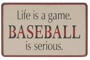 "Baseball is Serious Wooden Sign $19.99 ""Life is a game. Baseball is serious. "" For the man cave."