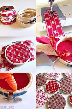 DIY Handmade Ribbon Ornaments Christmas Tree - Embroidery Hoop