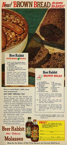 Vintage 1952 Food Ad, Brer Rabbit New Orleans Molasses, Brown Bread & Baked Beans Recipes Retro Recipes, Old Recipes, Bean Recipes, Vintage Recipes, Cooking Recipes, 1950s Recipes, Recipies, 1950s Food, Retro Food