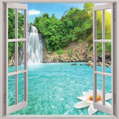 Waterfall 3D Window View Removable Wall Art Sticker Vinyl Decal Home Decor Mural picclick.com