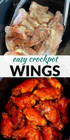 Making buffalo wings in a slow cooker creates healthier and fall-off-the-bone crockpot wings - it's the best and easiest recipe to cook chicken wings! You can use another sauce like teriyaki or bbq sauce instead of buffalo if you like. Real Food Recipes, Vegetarian Recipes, Cooking Recipes, Make Ahead Meals, Easy Meals, Homemade Buffalo Sauce, Spicy Wings, Buffalo Wings, How To Cook Chicken