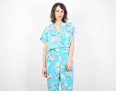 Vintage Mint Green Jumpsuit New Wave Romper by ShopTwitchVintage, $40.00