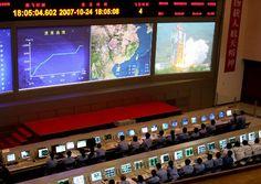 北京航天飞行控制中心实时监控嫦娥一号