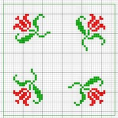 Biscornu fleurs rouge dégradé