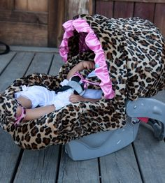 Lollipop Leopard Pink Ruffle Infant Car Seat Cover-infant car seat covers, baby bella maya, girls infant car seat cover, baby car seat covers, girl baby car seat covers, infant car seat covers, girly car seat covers