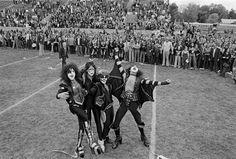 "The rock band ""KISS"" visits Cadillac High School Cadillac, Michigan, October 9, 1975 Photo: Fin Costello/Redferns"