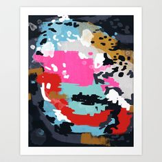 Charlotte - Abstract Painting in pink, gold, mint, and navy Art Print by CharlotteWinter - $16.00