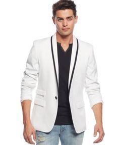 GUESS Jacket, Horizon Linen-Blend Blazer - Blazers & Sport Coats ...