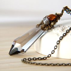 Smoky Pendulum  Crystal Wire Wrapped Pendant Necklace by Lightborn
