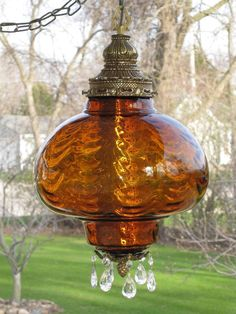 LARGE Vintage AMBER Drape Optic Art Glass Hanging Swag Lamp w Prisms