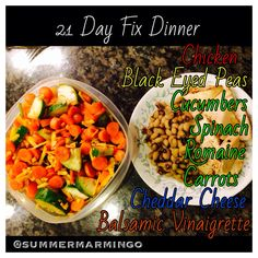 21 Day Fix Dinner.  Color of font indicates which containers used. www.facebook.com/summermarmingo