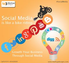 #SocialMedia is like riding a bike !! #SMO services help promote your #Business in the faster way of #Marketing done through social media circuits. We are focused on online marketing and #Brand building for our clients.   #SocialMediaOptimization #MarkupDesigns