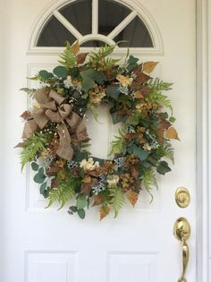 Fall Wreath-Fern Wreath-Rustic Greenery by ReginasGarden on Etsy
