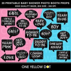INSTANT DOWNLOAD - Baby Shower Party Photo Booth Props Printable - PDF - Personal and Commercial Use - No Credit Required. $8.00, via Etsy.