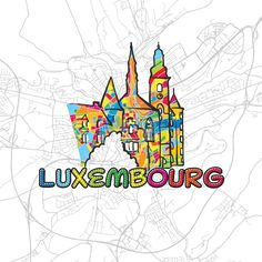 Luxembourg, Colorful Map Sign by #Hebstreit #map #travel #print #icon #europe #capital #landmark #urban #greeting #gift fine #handmade #vector #download #product