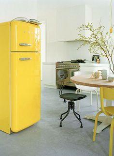 Yellow Refrifgerator