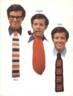 Hand-knitted tie, cravat and crocheted tie -