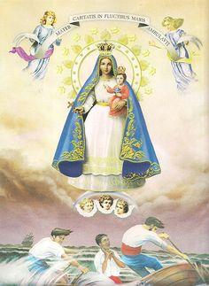 Bella pintura de la Virgen de la Caridad, Advocación de la Virgen María, patrona de los cubanos