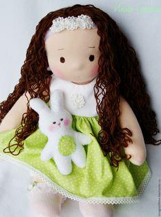 Купить Игровая кукла Миланочка! - салатовый, вальдорфская кукла, вальдорфская кукла купить, вальдорфская игрушка