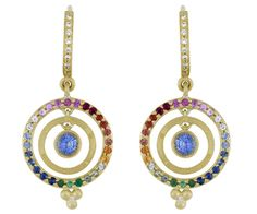 18K Double Ring Earring with Mixed Sapphires - Temple St. Clair - $3750