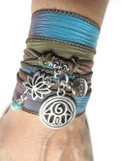 Turquoise Wrap Bracelet Bohemian Lotus Hamsa Silk Wrap by HVart