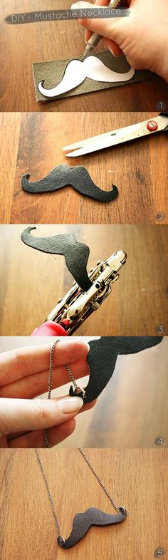 DIY Necklace Ideas - DIY – Leather Mustache Necklace - Pendant, Beads, Statement, Choker, Layered Boho, Chain and Simple Looks - Creative Jewlery Making Ideas for Women and Teens, Girls - Crafts and Cool Fashion Ideas for Teenagers http://diyprojectsforteens.com/diy-necklaces