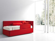 Modern Kid's Bed Design for Home Interior Furniture by Bolzan Letti, Single Bed with Headboard and Side Panel