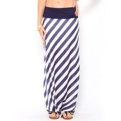 Diagonal #Striped Maxi #Skirt