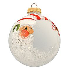 BEAUTIFULLY painted santa head ornament  Love the hat!