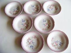Mikasa Stonekraft Three Daisies Set Of Seven Rimmed Soup Bowls